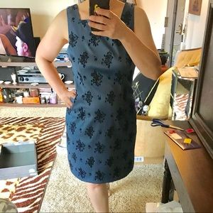 Vintage Black Flocked Blue Satin Dress